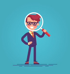 cartoon character - manager with loupe vector image vector image
