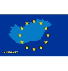 Flag of European Union with Hungary on background vector image