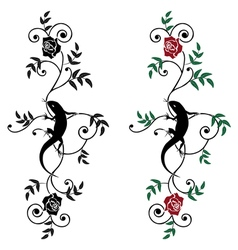 lizard and rose set vector image