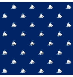 Seamless pattern with sailing vessel vector