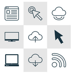 set of 9 internet icons includes display mouse vector image vector image