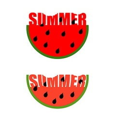 Summer logo Piece of watermelon with word summer vector image