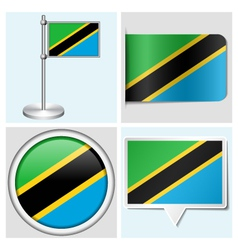 Tanzania flag - sticker button label flagstaff vector image vector image