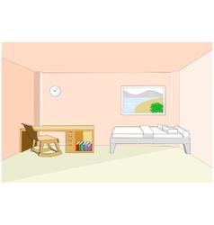 Bedroom interior with desk 3d vector image vector image