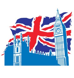 big ben of London with union jack vector image