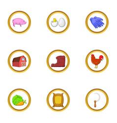 Farmer hobby icon set cartoon style vector