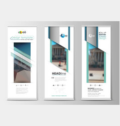 set of roll up banner stands flat templates vector image