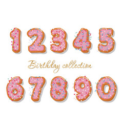 sweet hand drawn numbers set for birthday design vector image vector image