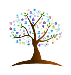 Tree and networking symbols vector image vector image