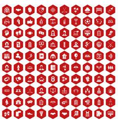 100 team icons hexagon red vector image