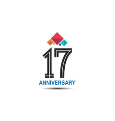 17 anniversary logotype with colorful crown vector