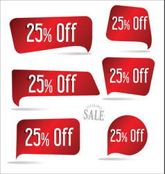 25 percent off red sticker collection vector image