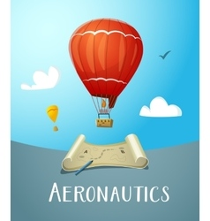 Aeronautics hot air balloon flying in blue sky vector
