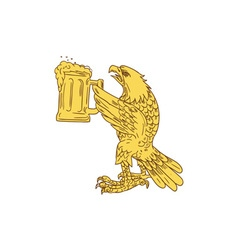 American Bald Eagle Beer Stein Drawing vector