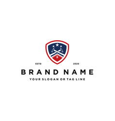 American house construction and shield logo vector