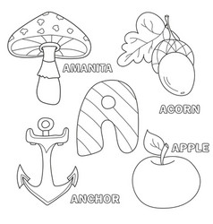 apple anchor amanita acorn letter a in kids vector image