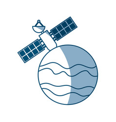 Artificial satellite on planet vector