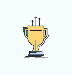 award competitive cup edge prize flat icon green vector image