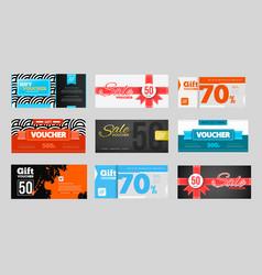 Big voucher discount template set vector