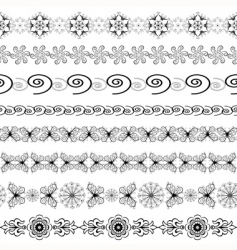 black and white seamless borders vector image