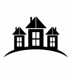 Black Castle Silhouette logo symbol vector image