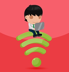 Business Man Work Sit down Wifi Symbol vector image