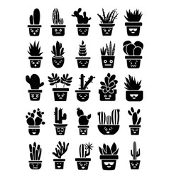 Cacti emoticon icons pack vector
