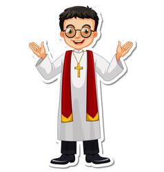 Cartoon character priest sticker vector