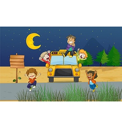 Cartoon Schoolbus Kids vector