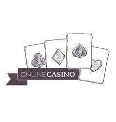 Casino gambling activity monochrome sketch vector