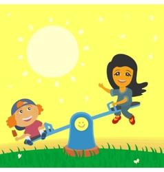 Children Swinging on Swings vector image