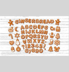 Christmas and new year gingerbread alphabet vector