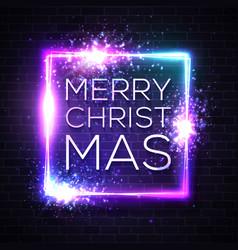 christmas neon sign light vector image