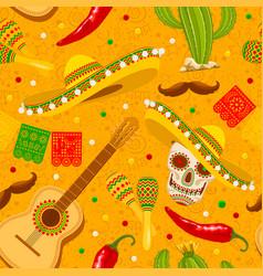 cinco de mayo yellow seamless pattern vector image