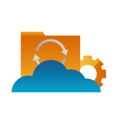 cloud computing folder file reload setting vector image