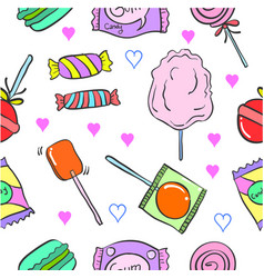 Collection candy various doodle style vector