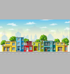 Colorful modern family house with trees vector