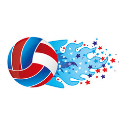 colorful olympic flame with stars and volleyball vector image