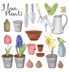Colour set with different gardening tools object vector