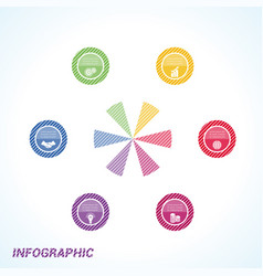 Colourful striped circles template infographics vector