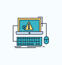Computer crash error failure system flat icon vector