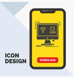 Control computer monitor remote smart glyph icon vector
