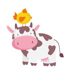 Cow and chicken in head farm animal cartoon vector