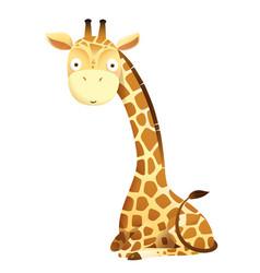 Cute baby giraffe sitting isolated clipart vector
