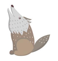 Cute wolf cartoon flat sticker or icon vector