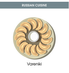 Delicious vareniki with sour cream from russian vector
