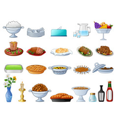different types of traditional food vector image