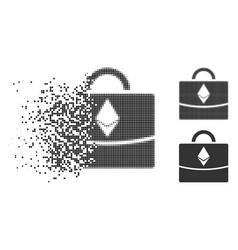 Disintegrating dot halftone ethereum business case vector