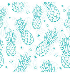 Doodle turquoise blue pineapples and stars vector