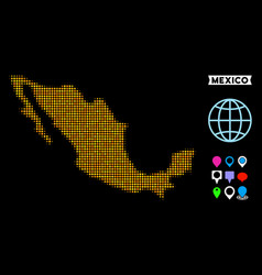 Dotted halftone mexico map vector
